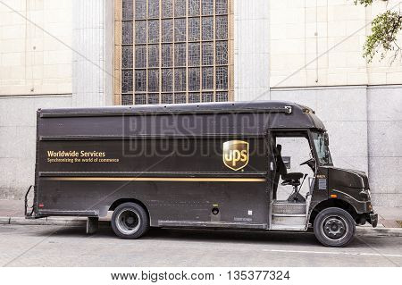 SAN ANTONIO USA - APR 11: United Parcel Service Delivery Truck in the city of San Antonio. April 11 2016 in San Antonio Texas United States