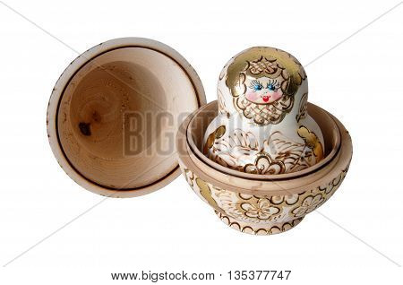 russian nesting dolls (babushka) half opensouvenir in russian