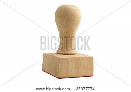 Rubber stamper with the word on white