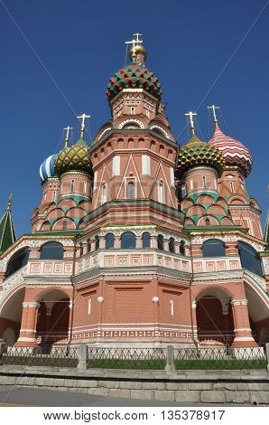 The Cathedral of Vasily the Blessed, or Saint Basil`s Cathedral, on the Red Square in Moscow, Russia