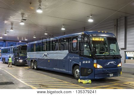DALLAS USA - APR 9: Greyhound buses at the terminal in Dallas downtown. April 9 2016 in Dallas Texas United States
