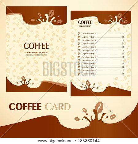 Food beverage menu coffee card drops liquid brown color