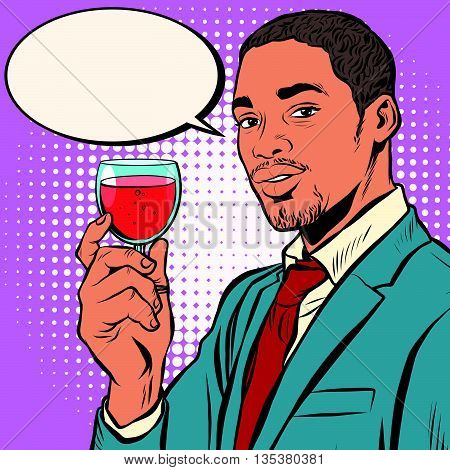 Closeup on winemaker smelling red wine in glass pop art retro vector. African American wine connoisseurs. Black elegant man