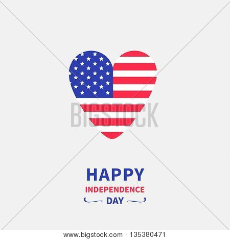 Heart shape american flag Star and strip icon. Happy independence day United states of America. 4th of July. Greeting card. Flat design. Vector illustration