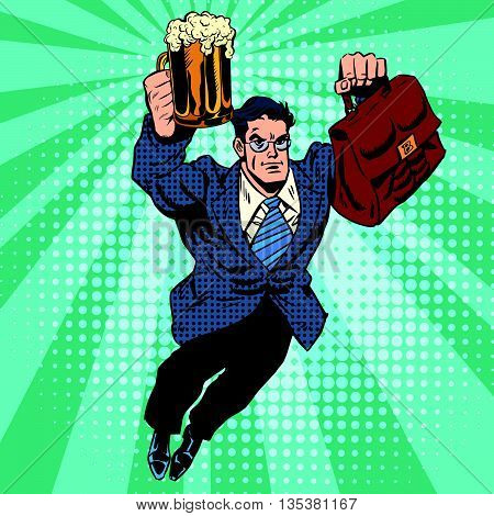 Beer man superhero flying pop art retro vector. Businessman with a beer in hand