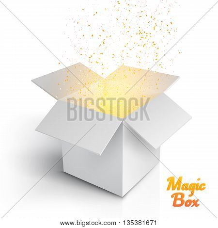 Illustration of Realistic Magic Open Box. Magic Box with Confetti and Magic Light. Magic Gift Box with Magic Light Comming from Inside Isolated on White Background