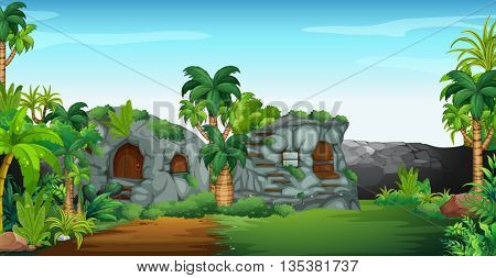 Nature scene with stone houses illustration