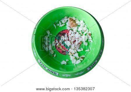 Top view of rice dry pet food in bowl in Thai