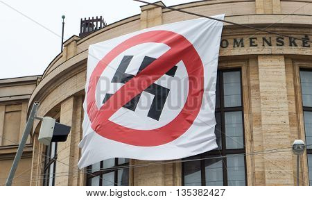 Flag - Stop fascism at building in Bratislava Slovakia
