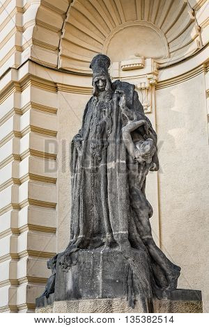 Prague Czech Republic - May 25 2016: Statue of rabbi Judah Loew Ben Bezalel (The Maharal Of Prague) situated by New Town Hall.