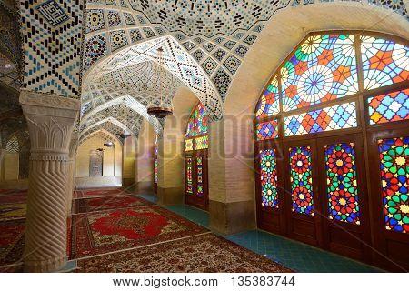 SHIRAZ - APRIL 15: interior of Nasir al-Mulk Mosque (Pink Mosque) in Shiraz Iran on April 15 2015. This mosque was built between 1876 and 1888 during the Qajar Dynasty in Shiraz Iran.