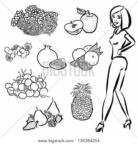 Fruits Outline Sketches With Nice Healty Girl