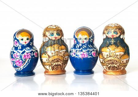 Wooden Russian Dolls on a white background