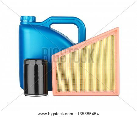 Canister with machine oil, air filter and oil filter, isolated on the white background