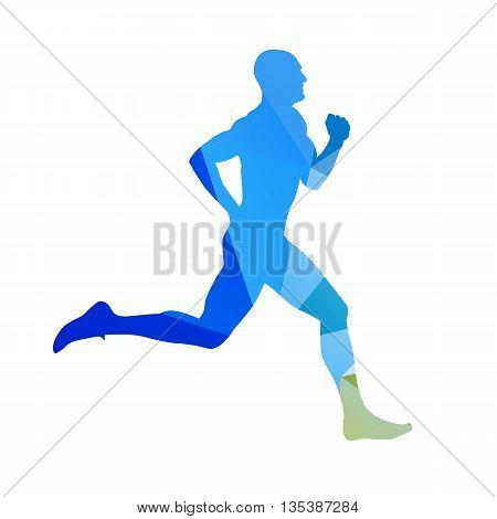 Abstract blue running man. Runner vector silhouette. Profile side view