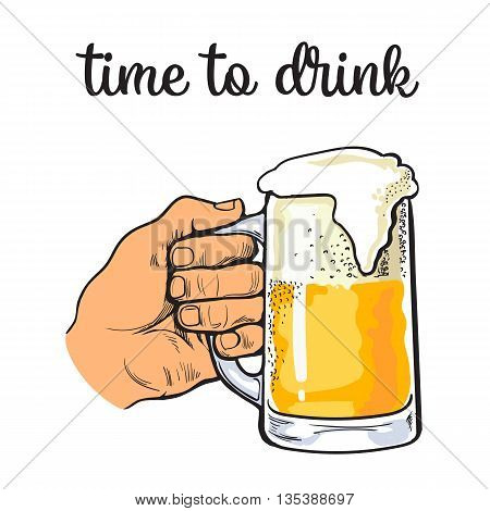 Hand holding a full glass of beer, illustration sketch narisovany by hand, isolation on a white background male hand with a mug of foamy golden beer, the concept of time to drink alcohol