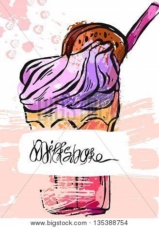 Hand draw vector abstract textured card of milkshake.Design for kids menubirthday.Card template.Sweet background.Natural desert.Organic desertFruit smoothieMonstershake in cocktail jar image.