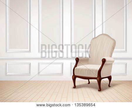 Classic Interior Illustration. Interior Vector Design. Classic Room Realistic Illustration. Classic Interior Background. Classic Style Illustration.