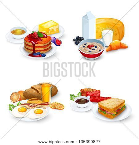 Breakfast Compositions Set. Breakfast Vector Illustration. Breakfast Cartoon Symbols.Breakfast  Design Set.  Breakfast Isolated Set. Breakfast And Food Concept.