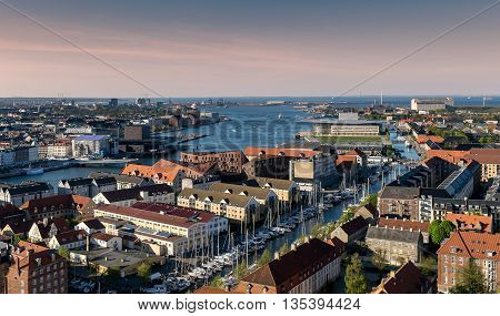 Areal view of Copenhagen, Denmark, with Knippel Bribge (Knippelsbro) and inner harbour canal.