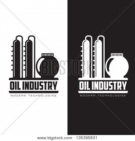 set of logos with oil, vectors flat illustration isolated on a white background, the oil company, the industry of oil and gas, construction logo on petroleum production, gas company