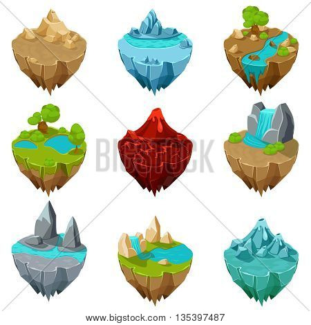 Isometric game islands vector. Island ground, lava interface, volcano landscape island illustration