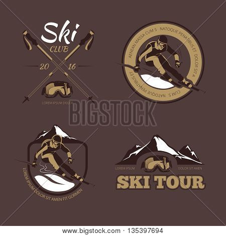 Nordic skiing vector emblems, labels, badges, logos set. Sport skiing logo, skiing badge, skiing emblem illustration