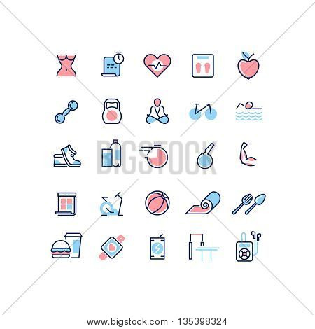 Fitness and sport vector line icons set. Sport icon, fitness icon, sport health icon, fitness diet icon, bicycle and yoga sport fitness illustration