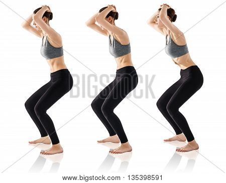Sporty beautiful young woman practicing Uddiyana Bandha technique isolated on white poster