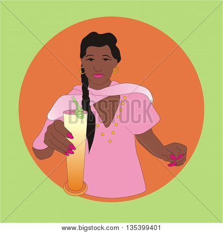 Illustration Indian girl holding a glass with Indian drink made from a yogurt or buttermilk base with water