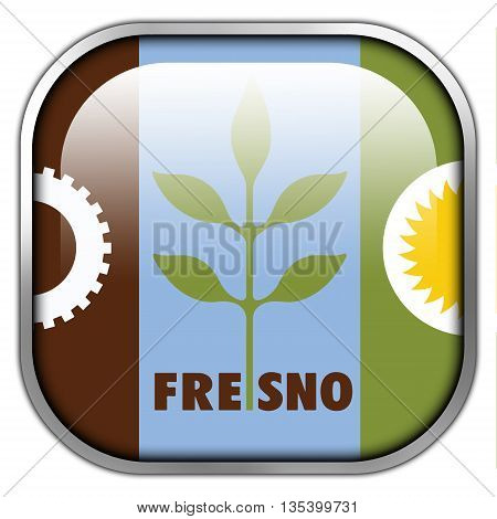 Flag Of Fresno, California, Square Glossy Button