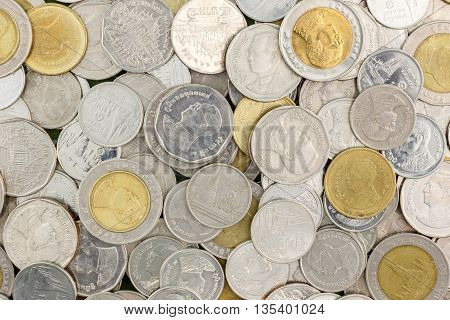 close up Thai coin background photo stock