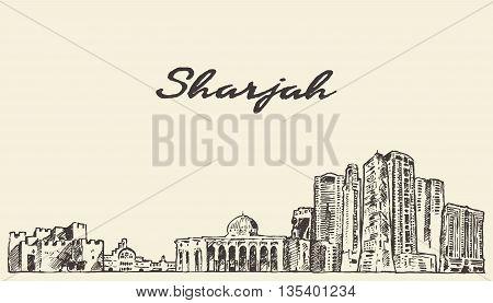 Sharjah skyline United Arab Emirates vintage vector engraved illustration hand drawn sketch