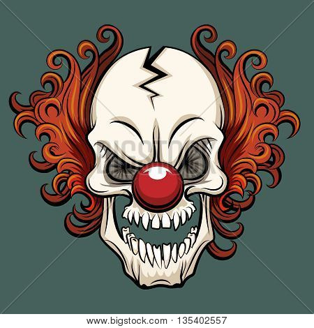 Vector evil clown. Clown scary, halloween clown monster, joker clown character illustration