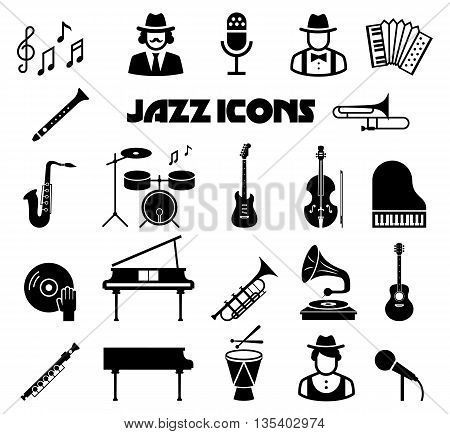 Jazz vector icon set. Instrument icon jazz, music jazz, saxophone and guitar jazz concert illustration