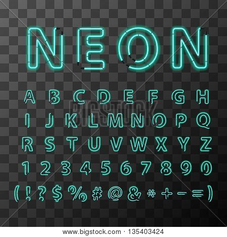 Bright realistic neon letters full latin alphabet on transparent background