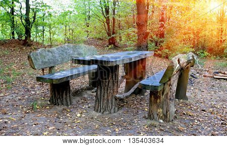 Picnic site with wooden table and benches in autumn forest
