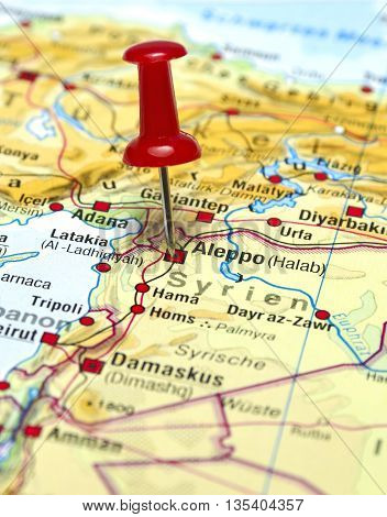 Map with focus set on Aleppo, Syria.