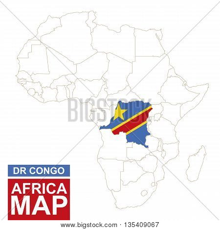 Africa Contoured Map With Highlighted Dr Congo.