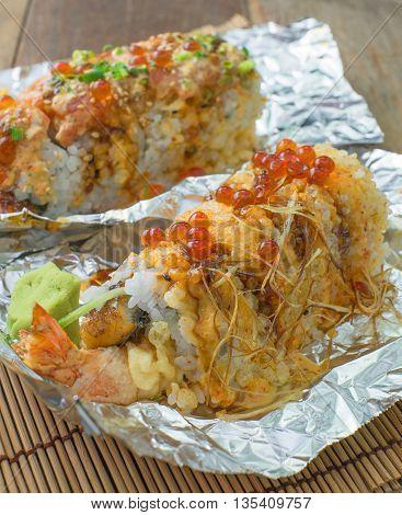 double japan sushi with unagi and tempura