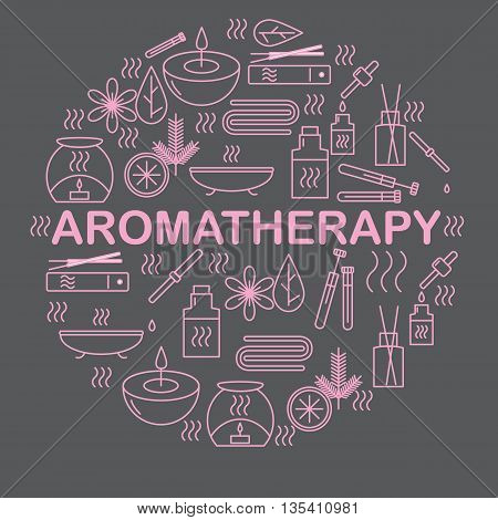 Aromatherapy. Round banner with icons aromatherapy. Icons for relaxation and spa. Vector illustration.