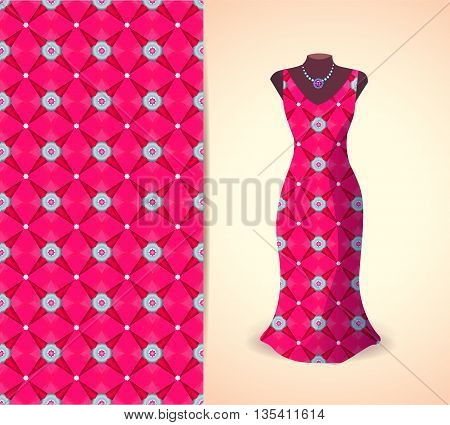 Vector fashion illustration women's dress on a dummy. Seamless vector background pattern isolated elements for invitation card design. Seamless fabric texture