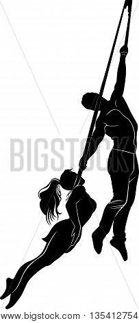 aerialists. Acrobatic young girl and boy . Circus artists perform different tricks. aerialists vector isolated on white background