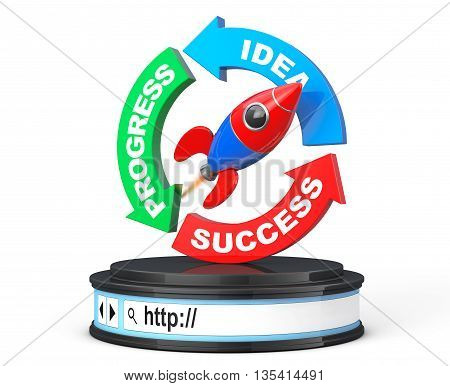 Progress Idea Success Arrow Diagram with Rocket over Browser Address Bar as Round Platform Pedestal on a white background. 3d Rendering
