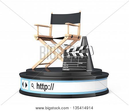 Director Chair Movie Clapper and Megaphone over Browser Address Bar as Round Platform Pedestal on a white background. 3d Rendering