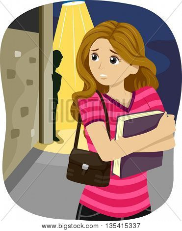 Illustration of a Teenage Girl Being Followed by a Mysterious Stalker