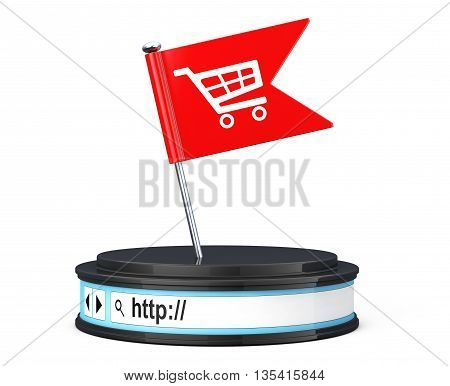 Red Flag with Shopping Cart Icon over Browser Address Bar as Round Platform Pedestal on a white background. 3d Rendering