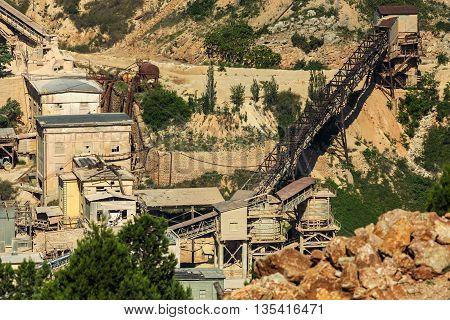 Sevastopol, Russia - June 09, 2016: Field for the extraction of flux limestone in Balaclava.