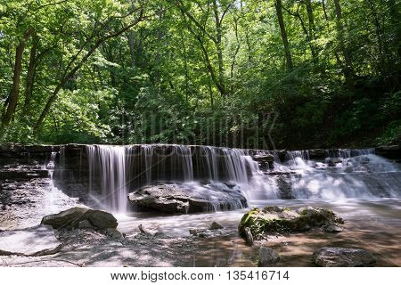 Waterfall in Park During Late Spring or Summer