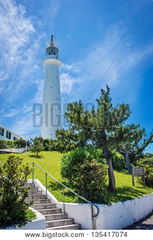 A scenic view of the Gibbs Hill Lighthouse in Southampton Parish Bermuda.